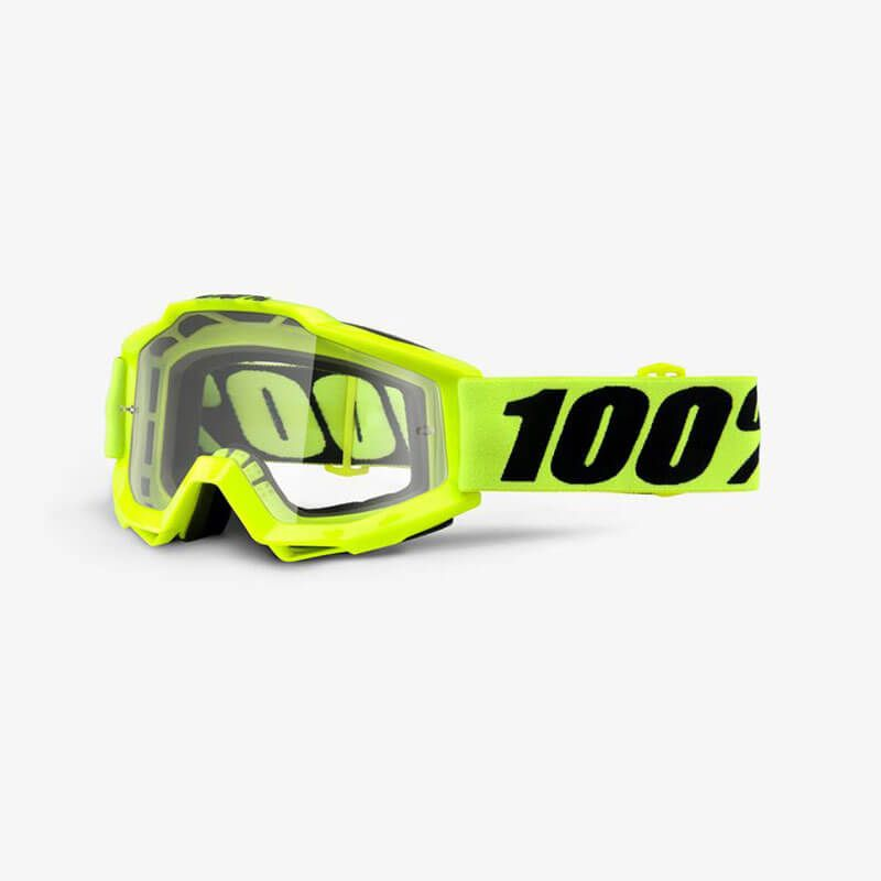 MASCHERA 100% ACCURI MOTO FLUO YELLOW CLEAR LENS