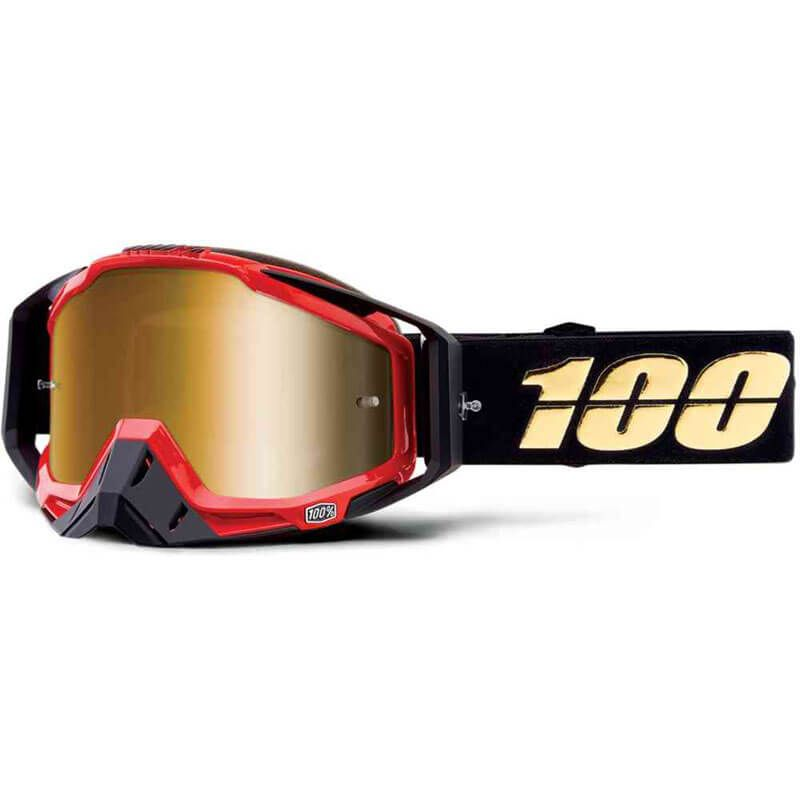 MASCHERA 100% RACECRAFT HOT ROD MIRROR TRUE GOLD LENS
