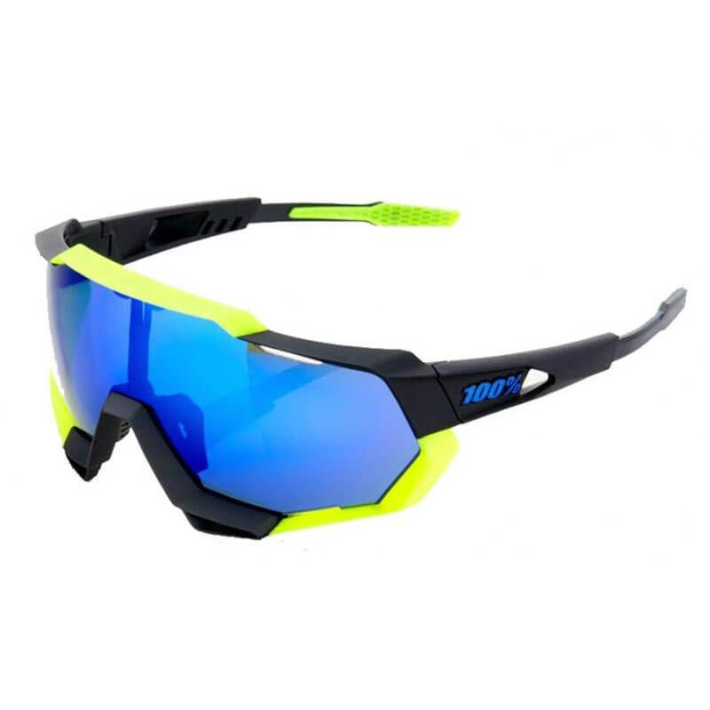 OCCHIALI 100% SPEEDTRAP POLISCHED BLACK MATTE NEON YELLOW ELECTRIC BLUE MIRROR