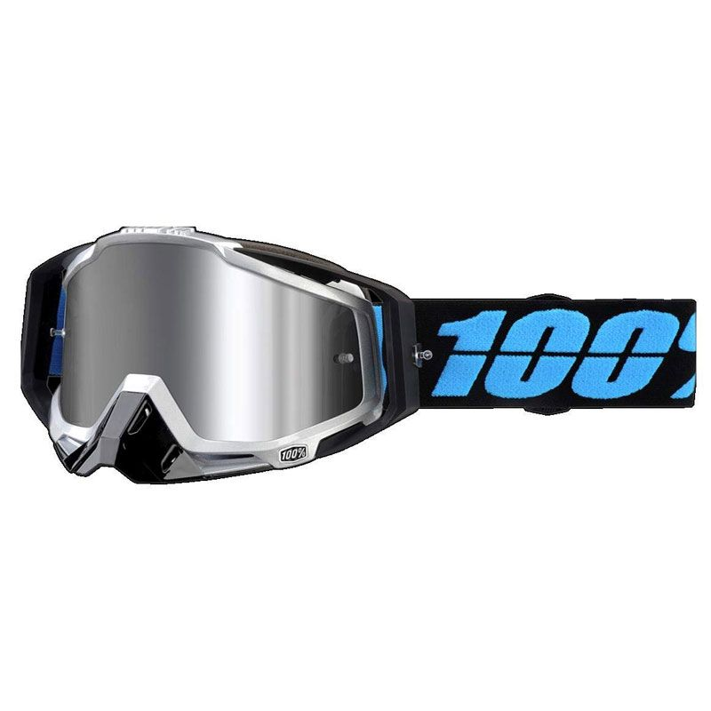 MASCHERA 100% RACECRAFT PLUS DAFFED INJECTED SILVER FLASH MIRROR LENS